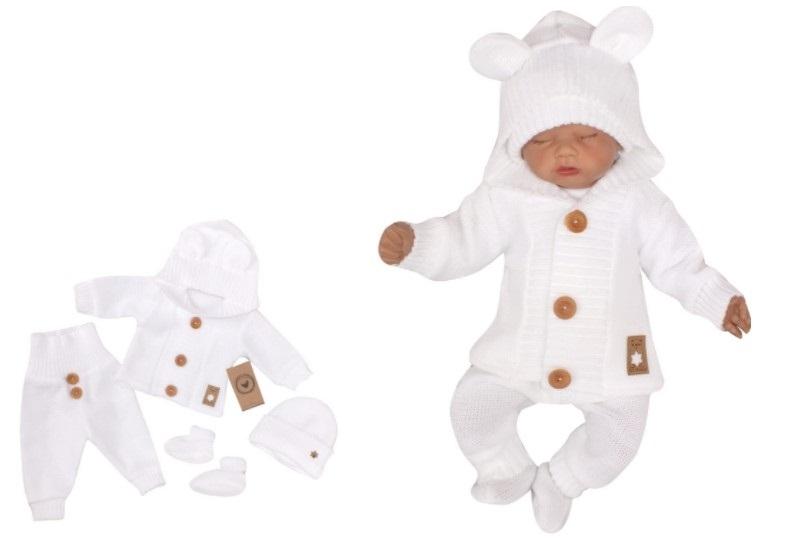 Z&Z 4-dílná kojenecká soupravička, kabátek, tepláčky, čepička a botičky - bílá, vel. 74