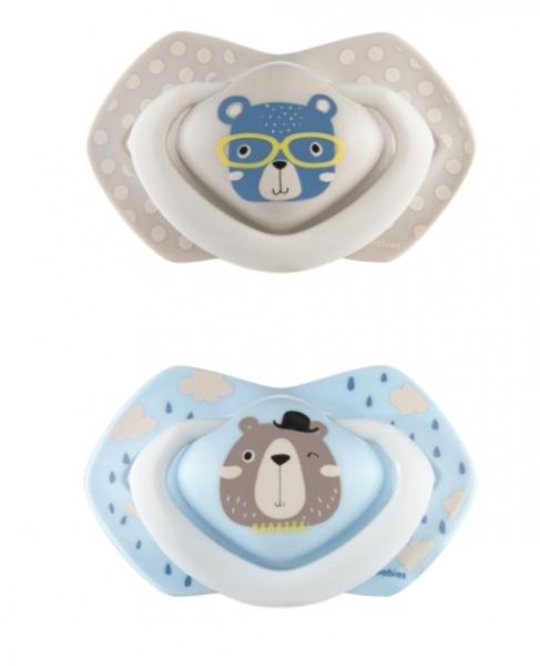 Canpol Babies 2 ks symetrických silikonových dudlíků, 6-18m, Bonjour Paris, šedá/modrá