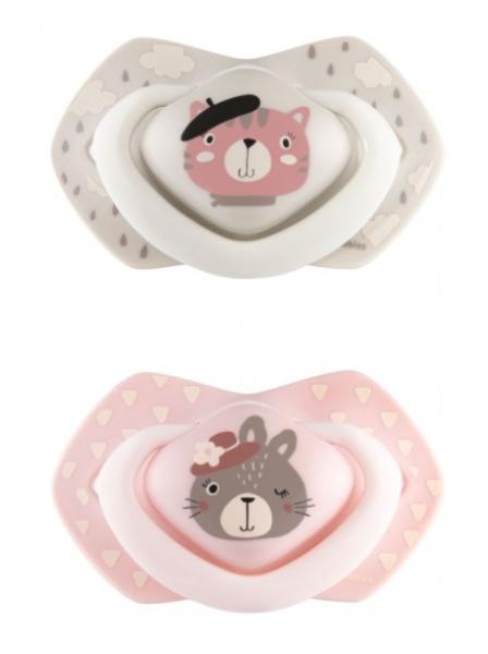 Canpol Babies 2 ks symetrických silikonových dudlíků, 0-6m, Bonjour Paris, růžová/šedá