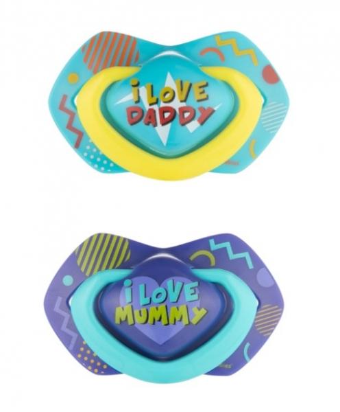 Canpol Babies 2 ks symetrických silikonových dudlíků, 0-6m, Neon Love Baby, modré