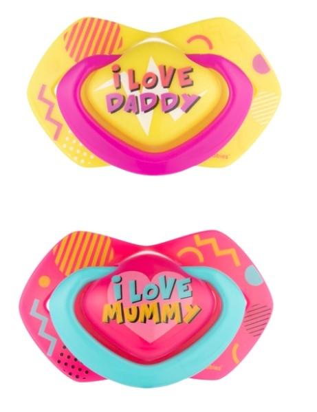Canpol Babies 2 ks symetrických silikonových dudlíků, 0-6m, Neon Love Baby, růžovo, žluté