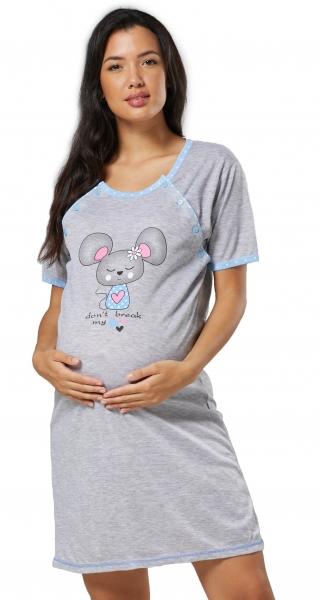 Be MaaMaa Těhotenská, kojící noční košile Myška - šedá/modrá