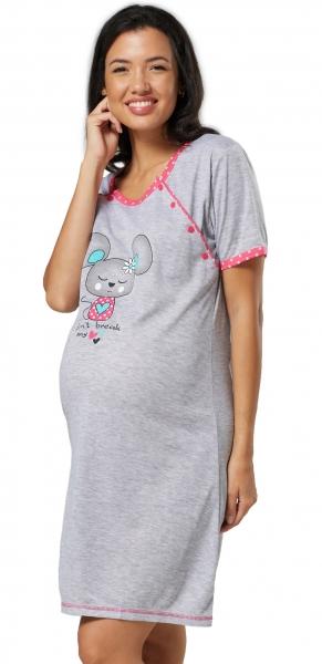 Be MaaMaa Těhotenská, kojící noční košile Myška - šedá/malinová