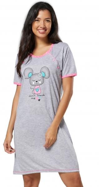 Be MaaMaa Těhotenská, kojící noční košile Myška - šedá/růžová, vel. XL