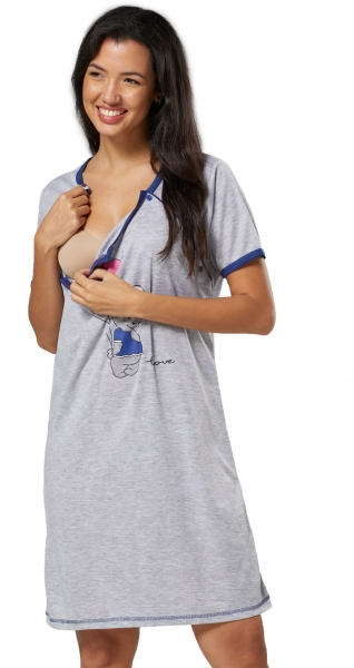 Be MaaMaa Těhotenská, kojící noční košile Medvídek - šedá/tmavě modrá, vel. L