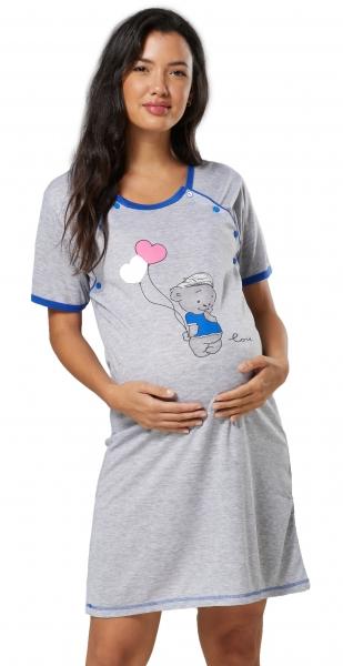 Be MaaMaa Těhotenská, kojící noční košile Medvídek - šedá/světle modrá, vel. XXL