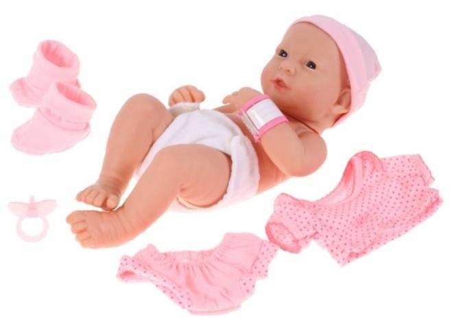 Tulimi New Born panenka Lili s oblečením, 35cm - růžová