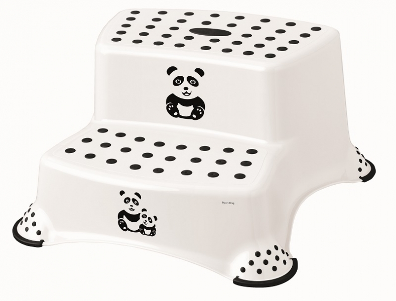 Keeeper Stolička - schůdky s protiskluzovou funkcí - Panda, bílý