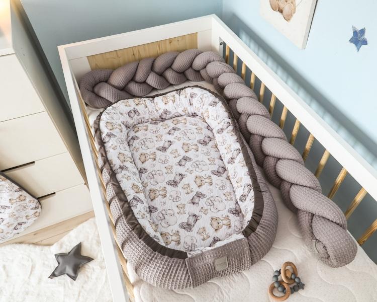 Baby Nellys Oboustranné hnízdečko, kokon Vafel,bavlna LUX, 60 x 90 cm - Safari