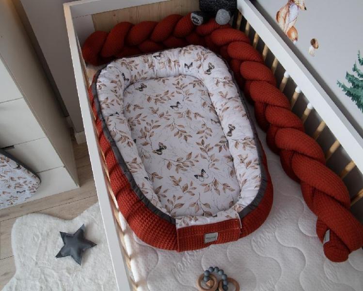 Baby Nellys Oboustranné hnízdečko, kokon Vafel,bavlna LUX, 60 x 90 cm - Motýlci