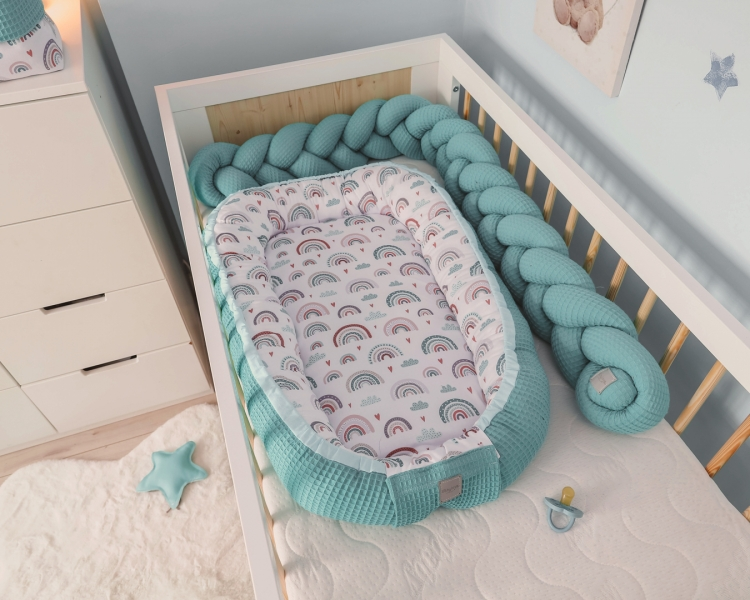 Baby Nellys Oboustranné hnízdečko, kokon Vafel,bavlna LUX, 60 x 90 cm - Duha, tyrkys