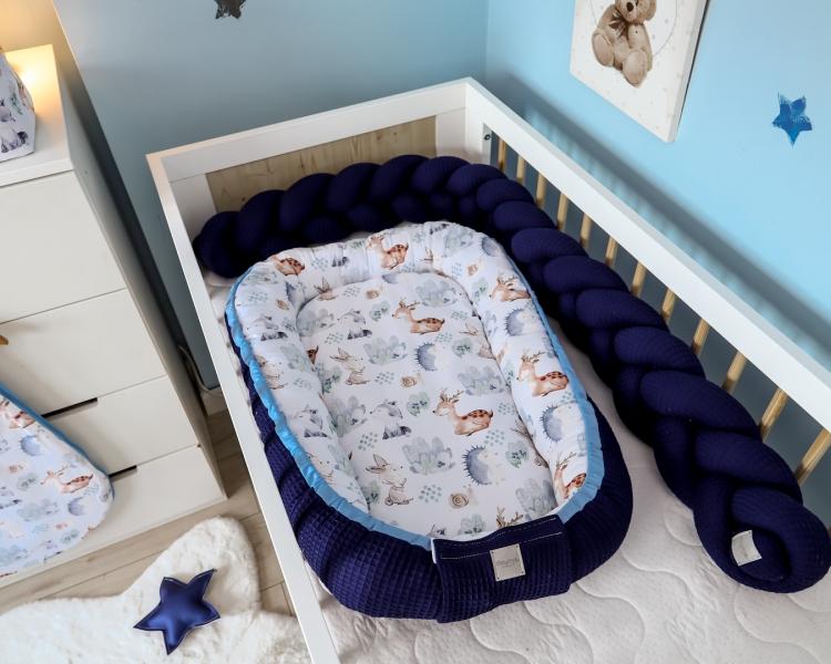 Baby Nellys Oboustranné hnízdečko, kokon Vafel, bavlna LUX, 60 x 90 cm - Les
