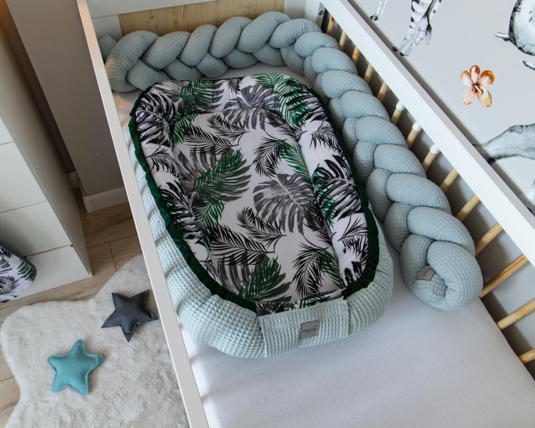 Baby Nellys Oboustranné hnízdečko, kokon Vafel,bavlna LUX, 60 x 90 cm - Listy