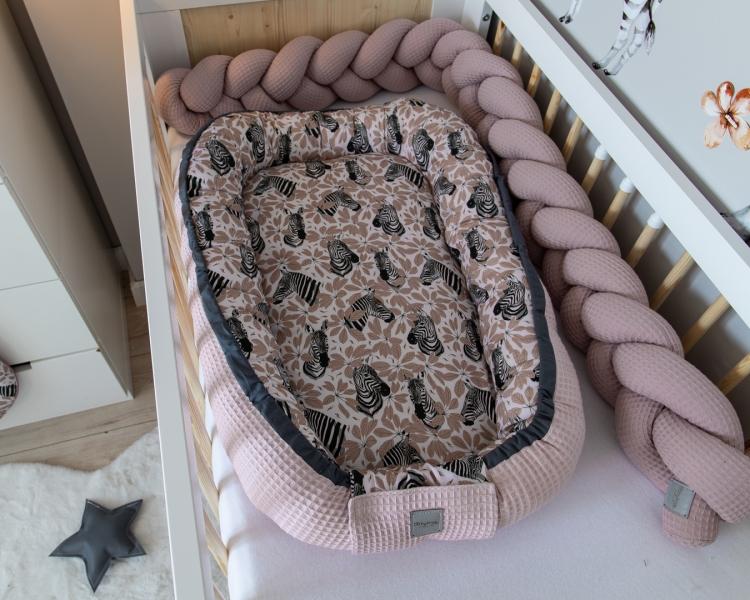 Baby Nellys Oboustranné hnízdečko, kokon Vafel,bavlna LUX, 60 x 90 cm - Zebra