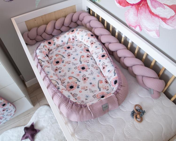 Baby Nellys Oboustranné hnízdečko, kokon Vafel, bavlna LUX, 60 x 90 cm - Ptáčci
