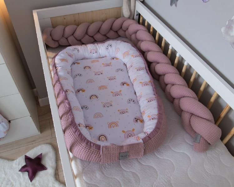 Baby Nellys Oboustranné hnízdečko, kokon Vafel,bavlna LUX, 60 x 90 cm - Duha, pudrová