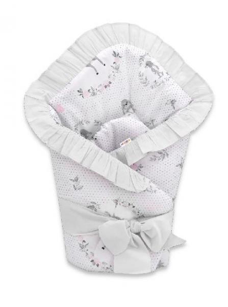 Baby Nellys Rychlozavinovačka 80 x 80 cm s volánkem a stuhou Koloušek, růžová, šedá