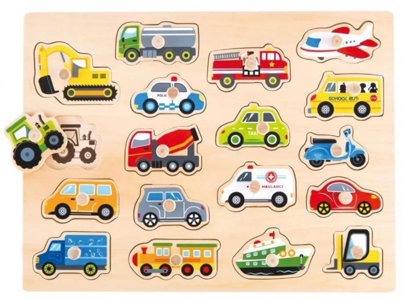 Lelin Edukační vkládačka, puzzle - Dopravní prostředky