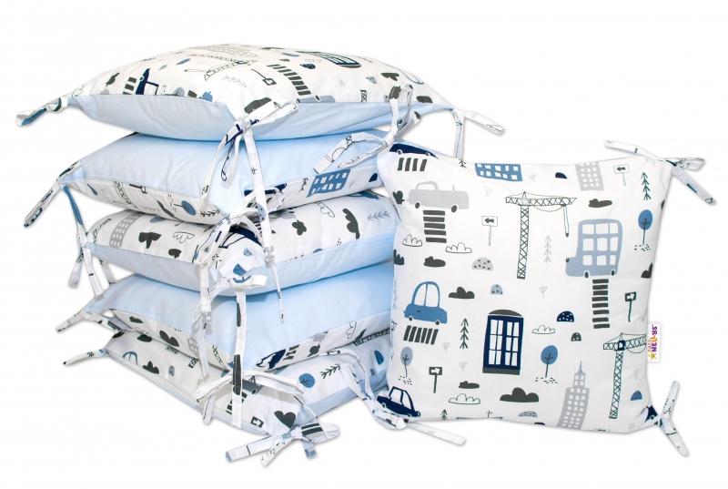 VELVET polštářkový mantinel Baby Nellys, Městečko - velvet + bavlna, modrý