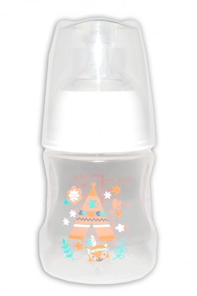 BIBI Antikoliková láhev, Týpí, 0 m+, 120 ml, oranžová