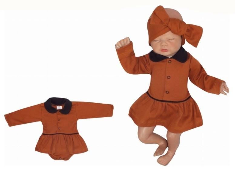 Z&Z Sukničkobody dlouhý rukáv s límečkem - čokoladové, vel. 86