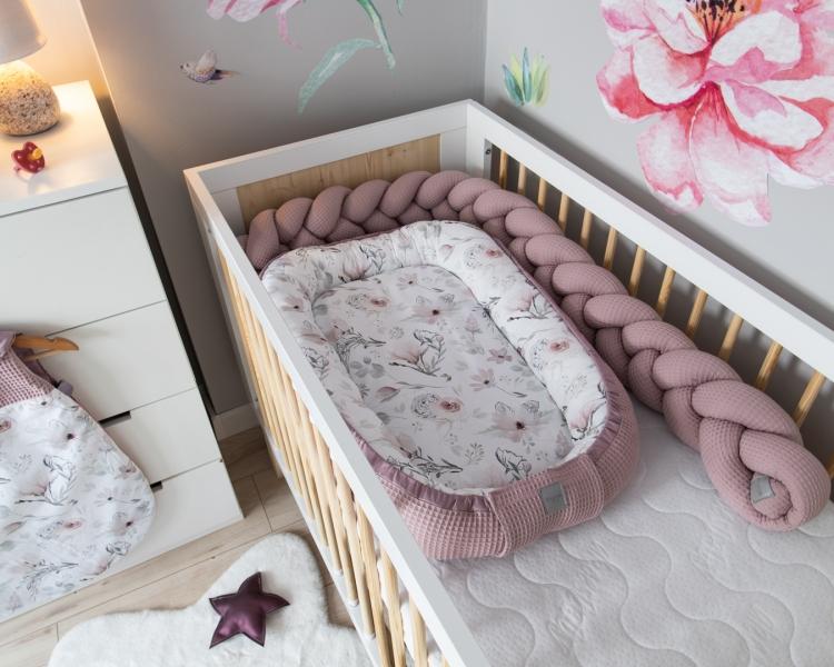 Baby Nellys Oboustranné hnízdečko, kokon Vafel,bavlna LUX, 60 x 90 cm - Magnolie