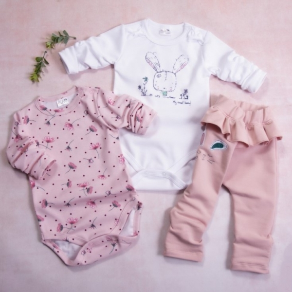 K-Baby 3-dílná sada, 2x body dlouhý rukáv, tepláčky - Bunny, pudrová, bílá