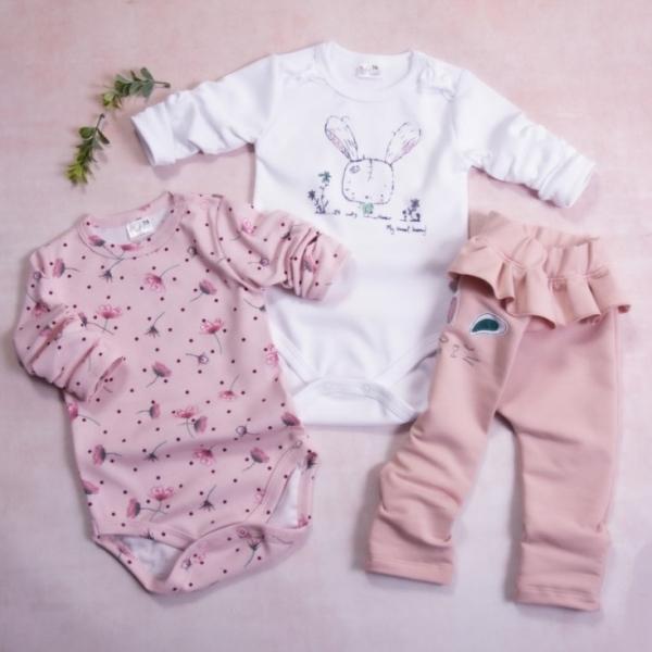 K-Baby 3-dílná sada, 2x body dlouhý rukáv, tepláčky - Bunny, pudrová, bílá, vel. 80