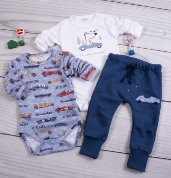 K-Baby 3-dílná sada, 2x body dlouhý rukáv, tepláčky - Retro Car, modrá, bílá