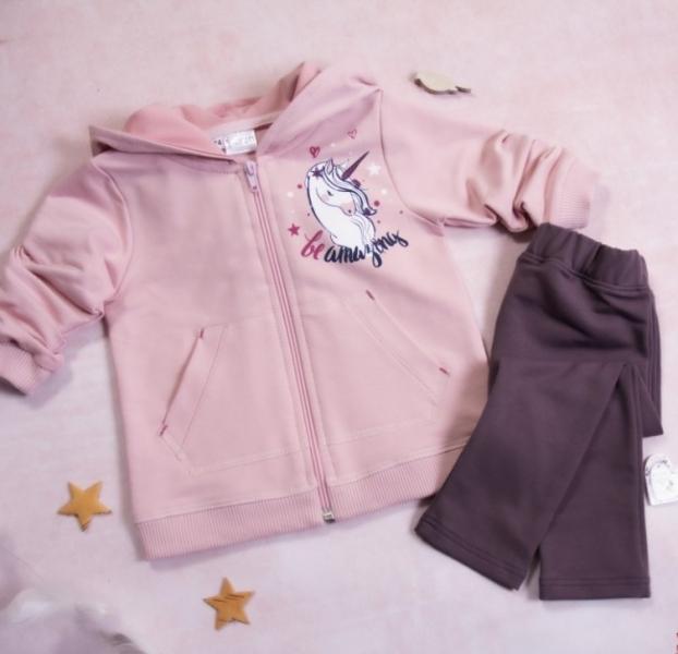 K-Baby 2-dílná Tepláková souprava Unicorn, pudrová, fialová, vel. 86