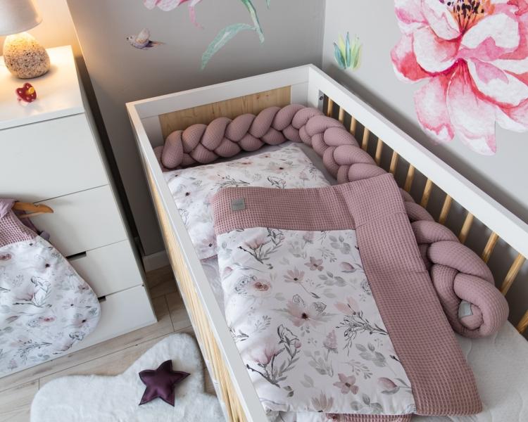 Baby Nellys 2-dílná sada do postýlky Vafel, bavlna LUX, Magnólie, 135 x 100 cm