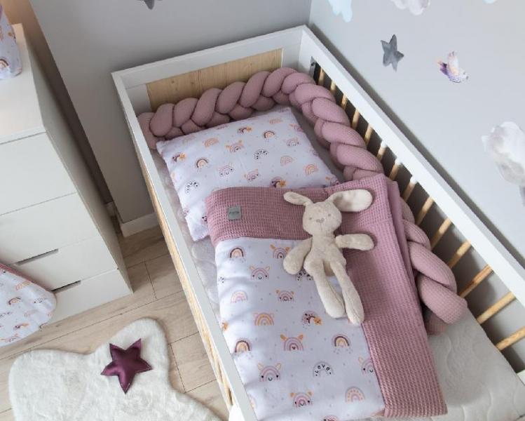 Baby Nellys 2-dílná sada do kočárku, kolébky, hnízdečka, Vafel, 3v1, bavlna LUX, Duha