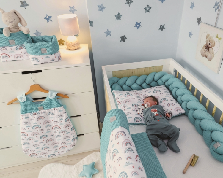 Baby Nellys 2-dílná sada do postýlky Vafel, bavlna LUX, Duha - mátová, 135 x 100 cm