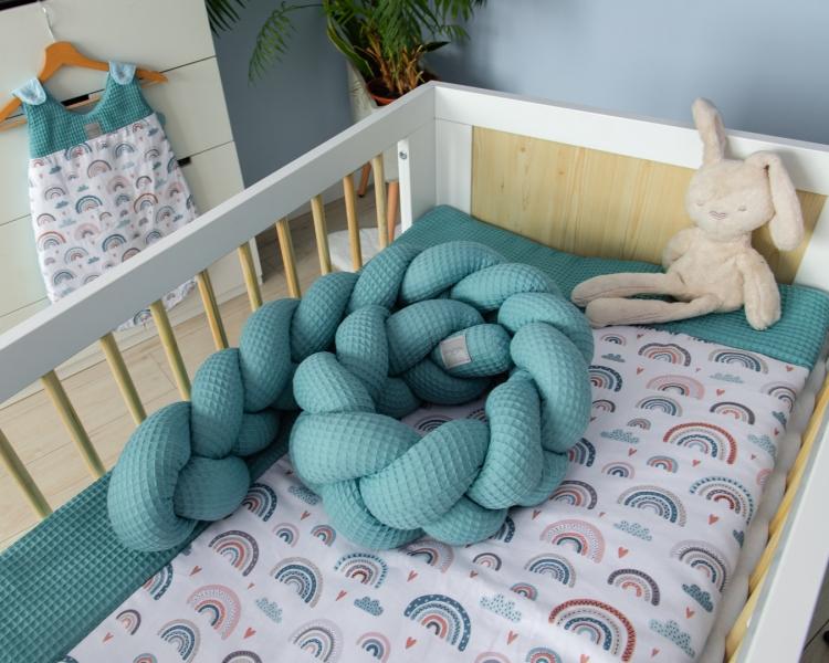 Baby Nellys Mantinel pletený cop Vafel, Duha - mátová, 220 x 16 cm