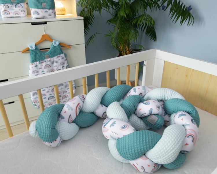 Baby Nellys Mantinel pletený cop Vafel, bavlna LUX, Duha - mátová, 220 x 16 cm