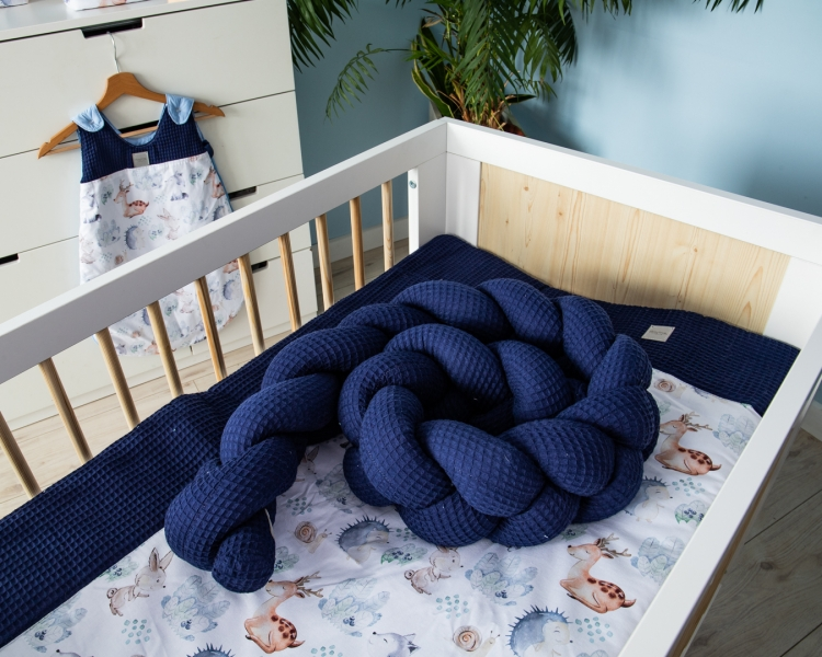 Baby Nellys Mantinel pletený cop Vafel, Les, 220 x 16 cm