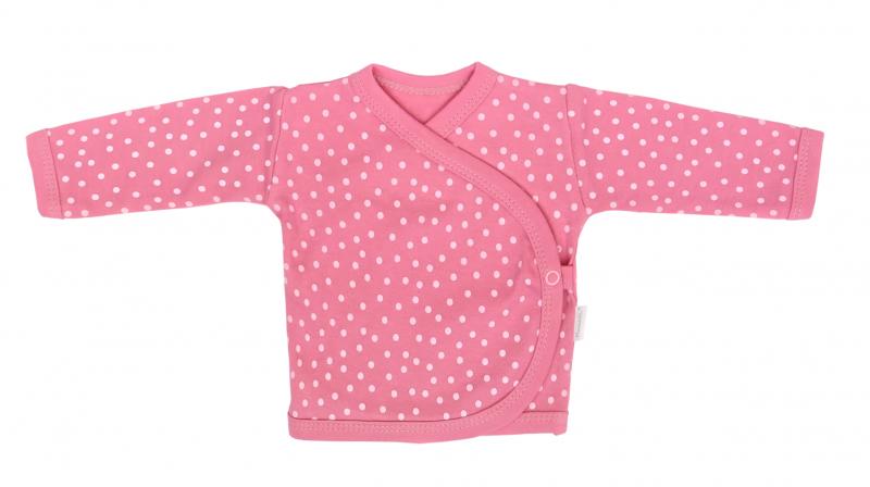 Mamatti Novorozenecká bavlněná košilka zapínání bokem, Princezna Puntík - růžová