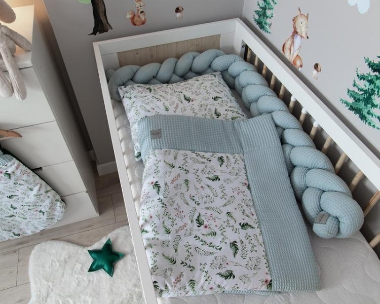 Baby Nellys 2-dílná sada do postýlky Vafel, bavlna LUX, Kapradí, 135 x 100 cm