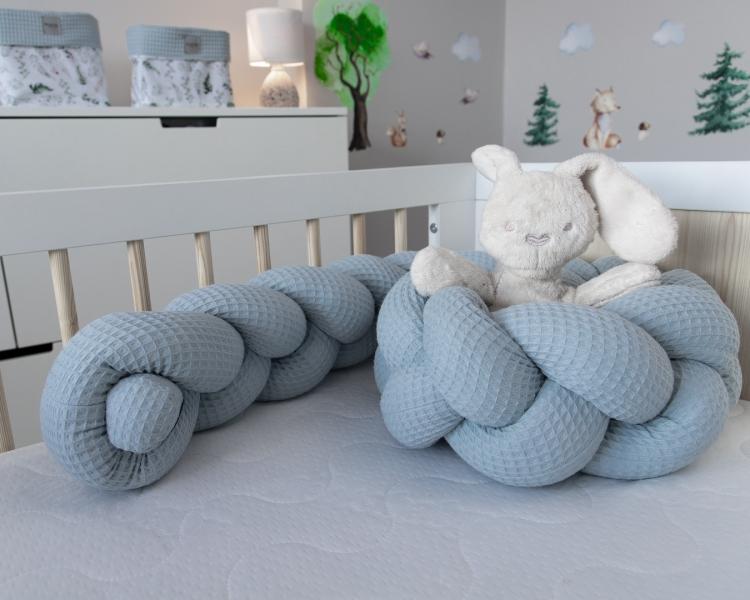 Baby Nellys Mantinel pletený cop Vafel, Kapradí, 220 x 16 cm