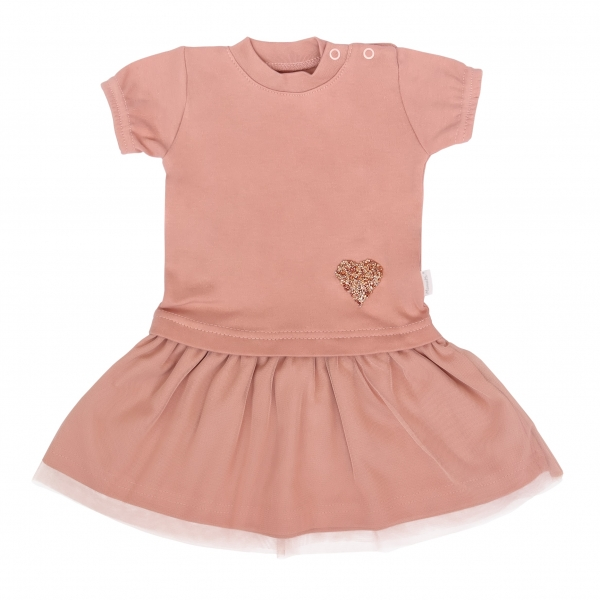 Mamatti Dětské šaty s týlem, kr. rukáv, Květinka, pudrové, vel. 86