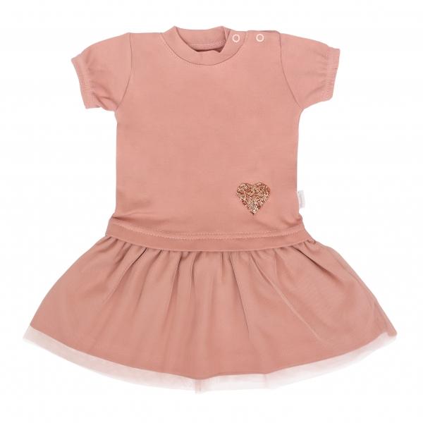 Mamatti Dětské šaty s týlem, kr. rukáv, Květinka, pudrové, vel. 98