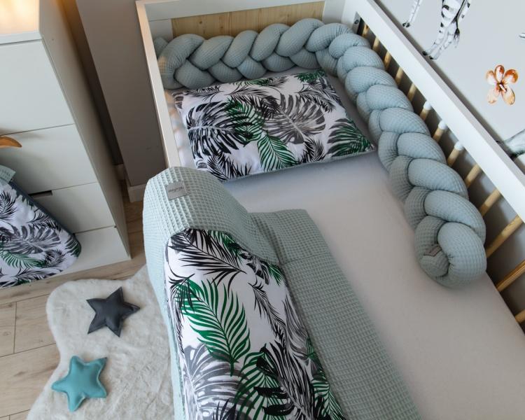 Baby Nellys 2-dílná sada do postýlky Vafel, bavlna LUX, Listy, 135 x 100 cm