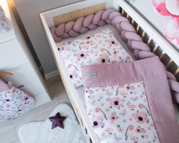 Baby Nellys 2-dílná sada do kočárku, kolébky, hnízdečka, Vafel, 3v1, bavlna LUX, Ptáčci