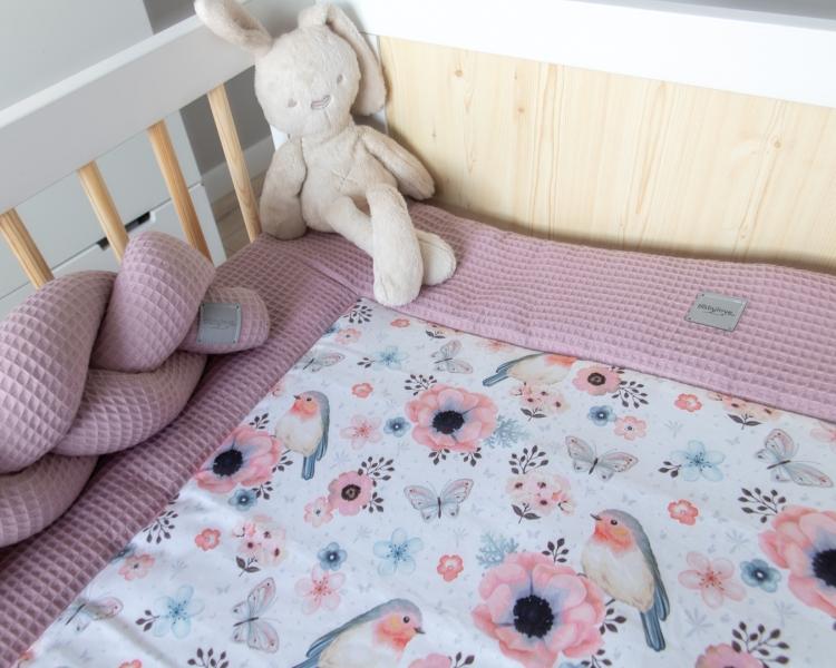 Baby Nellys 2-dílná sada do postýlky Vafel, bavlna LUX, Ptáčci, 135 x 100 cm