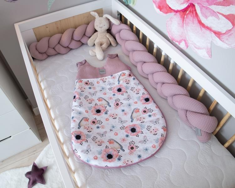 Baby Nellys Spací vak Vafel, bavlna LUX - Ptáčci, 6-18m