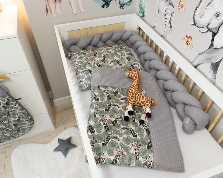 Baby Nellys 2-dílná sada do kočárku, kolébky, hnízdečka, Vafel, 3v1, bavlna LUX, Žirafa