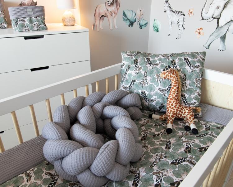 Baby Nellys Mantinel pletený cop Vafel, Žirafa, 220 x 16 cm