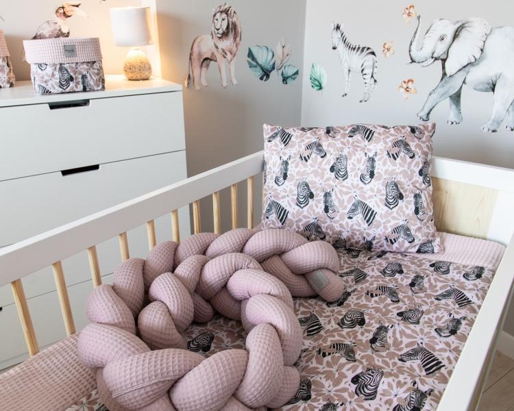 Baby Nellys Mantinel pletený cop Vafel, Zebra, 220 x 16 cm