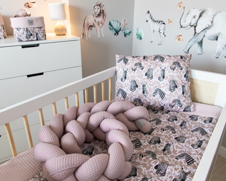 Baby Nellys Mantinel pletený cop Vafel, Zebra, 320 x 16 cm