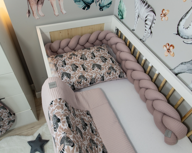 Baby Nellys 2-dílná sada do postýlky Vafel, bavlna LUX, Zebra, 135 x 100 cm
